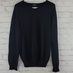 J Crew Black 100% Italian Merino Wool Sweater
